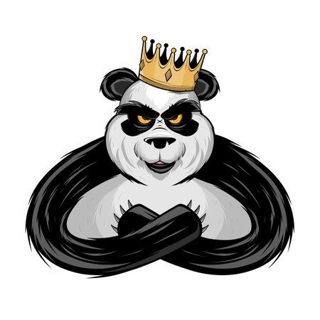 angry panda bear king with crown cartoon illustration