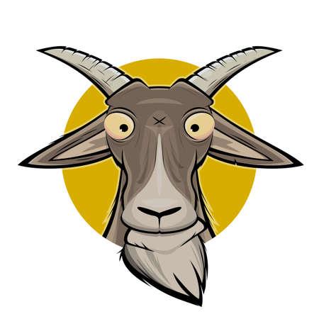 funny cartoon illustration of a goat head