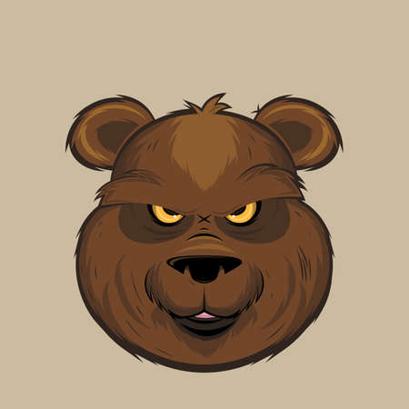 cartoon illustration of an angry grizzly bear head