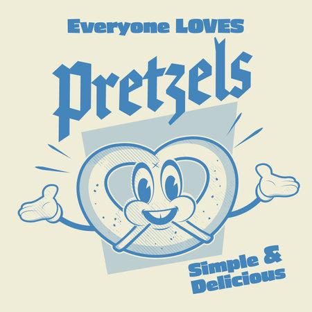 retro cartoon illustration of a happy bavarian pretzel