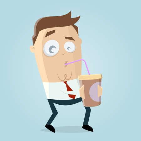 funny cartoon man drinking an milkshake