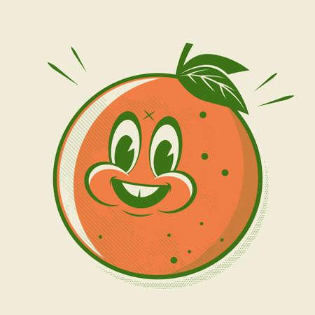 funny retro cartoon illustration of a happy orange
