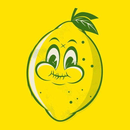funny retro cartoon illustration of a sour lemon Illustration
