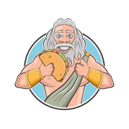 funny cartoon logo of greek god zeus or roman god jupiter with greek specialty gyros