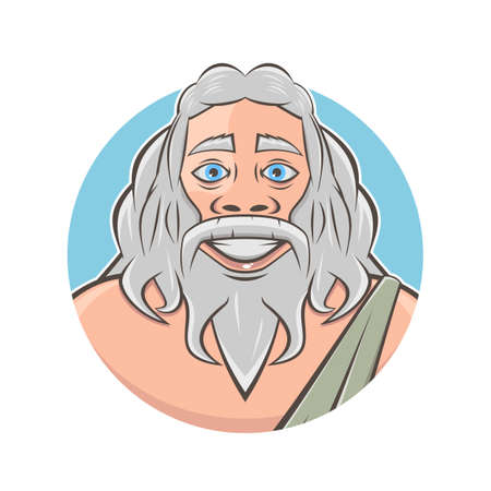 funny cartoon logo of greek god zeus or roman god jupiter