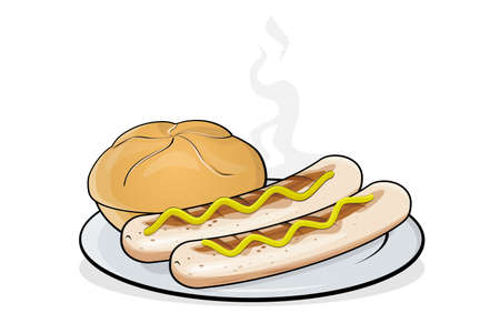 cartoon illustration of a German specialty called bratwurst on a plate