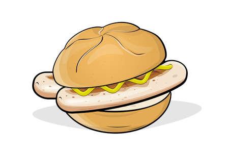 cartoon illustration of a German specialty called bratwurst