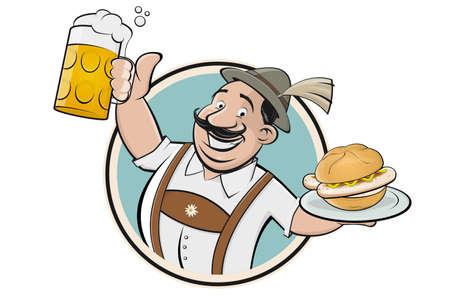funny Bavarian cartoon man serving Bavarian specialty bratwurstsemmel and beer
