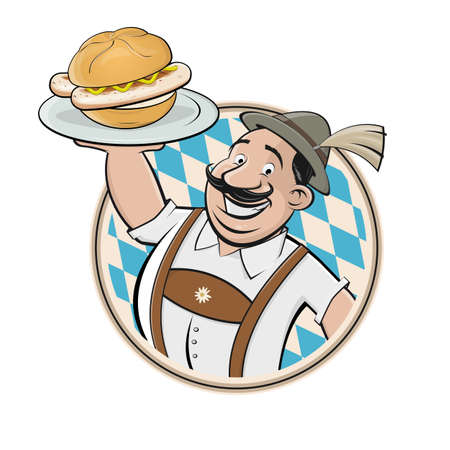 funny Bavarian cartoon man serving Bavarian specialty bratwurstsemmel