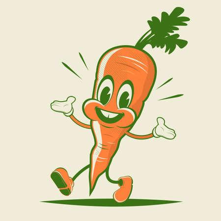 funny carrot retro cartoon illustration