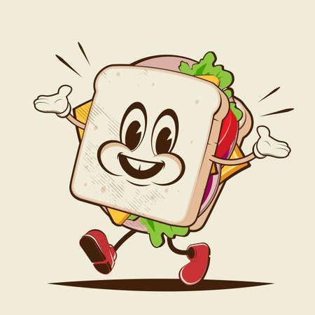 funny sandwich cartoon illustration in retro style