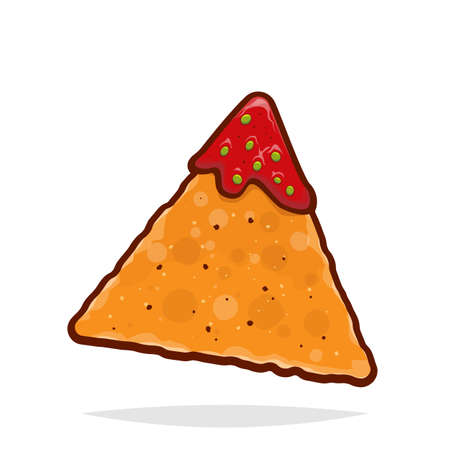 vector illustration of an isolated tortilla chip with salsa dip