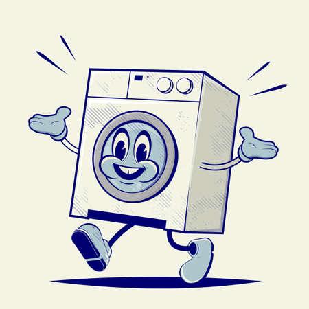 retro cartoon illustration of a funny washing machine Illustration
