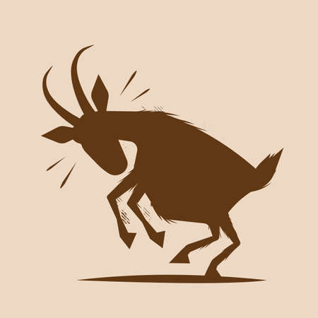 shape vector illustration of an angry goat