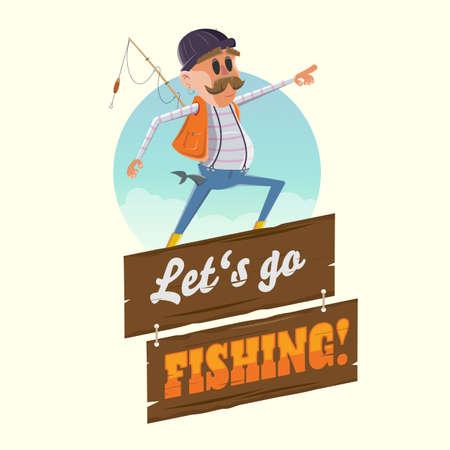 funny cartoon illustration of a fisherman