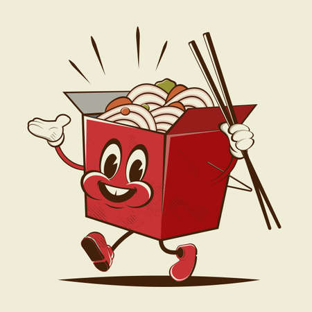 funny cartoon box with asian noodles Illustration