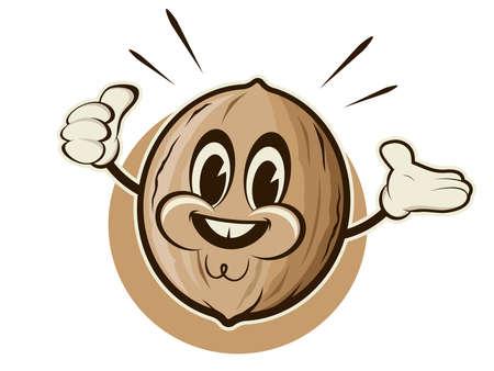retro cartoon illustration of a happy nut Illustration