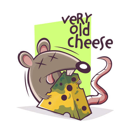 cartoon mouse with very old cheese