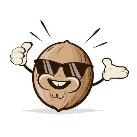 retro cartoon illustration of a happy nut with sunglasses