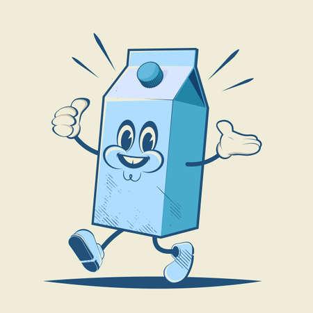 retro cartoon illustration of a milk box Illustration