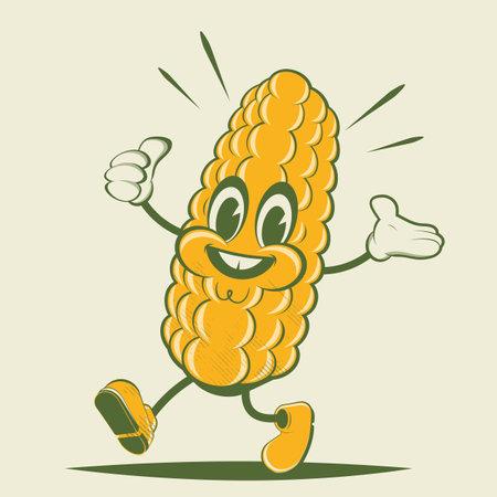 funny corn retro cartoon illustration