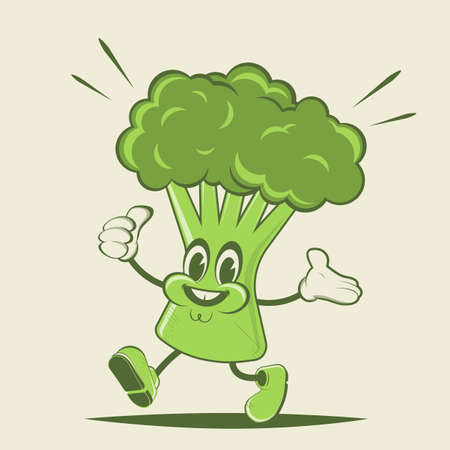 funny broccoli retro cartoon illustration