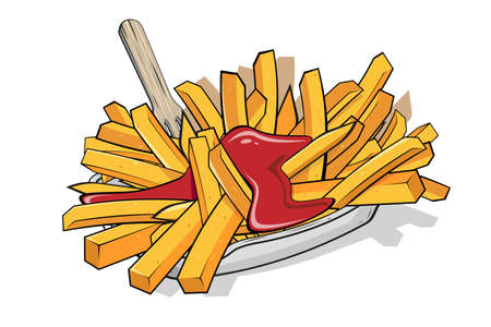 cartoon illustration of french fries with ketchup