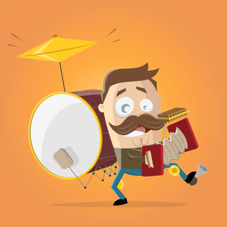 funny cartoon illustration of a one-man band