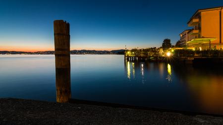 Sirmione Lake on Lake Garda at night