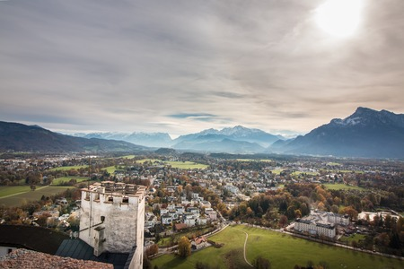 Outlook Mountain panorama from the fortress Hohensalzburg 免版税图像