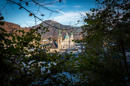 View of the Salzburg Cathedral and the Franciscan Church