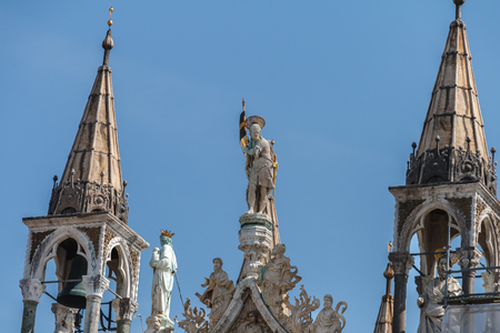 Detail of St. Marks Basilica in Venice, Italy Stock fotó