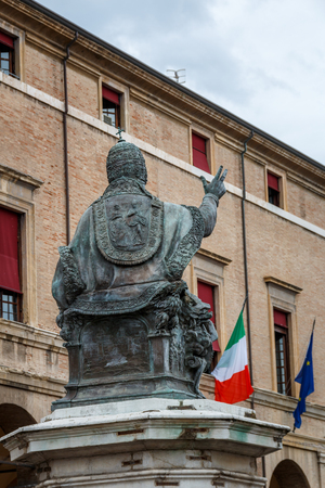 The statue of Paul Pope on the Piazza Cavour square in Rimini, Italy