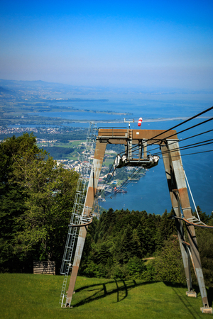 View from Pfänder to the Pfänder railway and Lake Constance in Austria