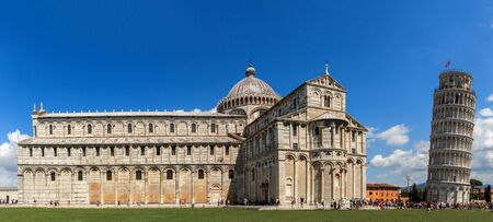 Panorama from Piazza dei Miracoli with the leaning tower of Pisa and the Cathedral Santa Maria Assunta, Tuscany, Italy