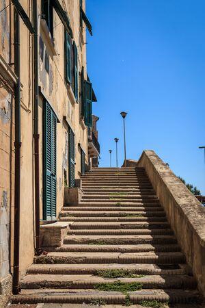 Stairway in Piombino, Tuscany, Italy