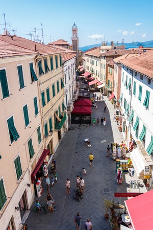 Old town in Puiombino overlooking the clock tower Torre dellOrologio, Tuscany, Italy Redactioneel
