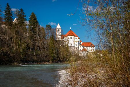 St. Mang Basilica in Fuessen in Allgaeu Bavaria Germany 스톡 콘텐츠