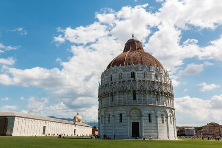 Piazza dei Miracoli with the Baptistery and the Camposanto Monumentale (cemetery), Tuscany, Italy