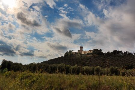 Winery and landscape in Tuscany, Italy Stock Photo