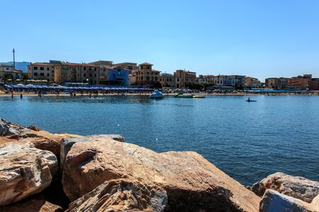 San Vincenzo from the sea side view, Tuscany, Italy Stock Photo