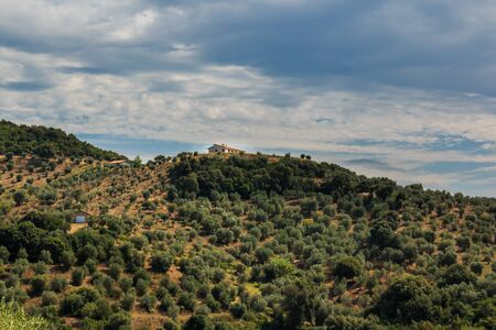 View from a hill in the old town of Suvereto overlooking the Tuscan countryside, Italy Stock Photo