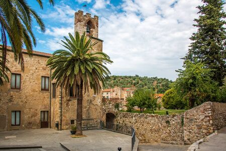 Square at the back of the town hall in Suvereto, Tuscany, Italy Stock Photo