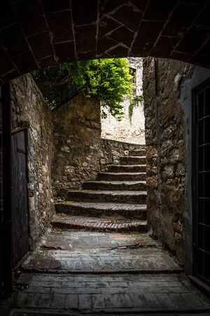 Passage in the old town of Suvereto, Tuscany, Italy
