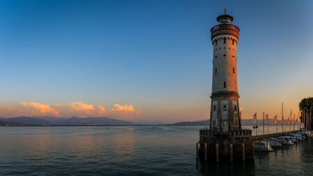 Panorama from the lighthouse at the harbor entrance of Lindau at the Lake Constance in Bavaria, Germany Stok Fotoğraf