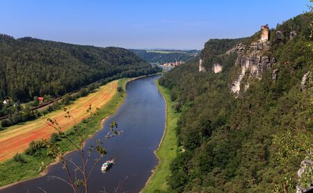 Viewpoint in the Elbe Sandstone Mountains with views of the Elbe
