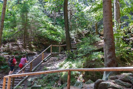 Hiking trail in the Sweden holes in the Elbe Sandstone Mountains range of Saxon Switzerland