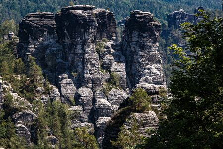 View to the Ferdinandstein in the Elbe sandstone mountains Reklamní fotografie
