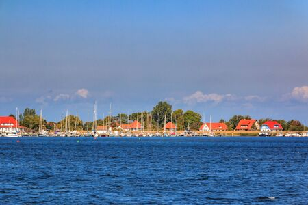 View from the excursion boat to the Vitte marina on the island of Hiddensee Stock Photo