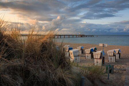 Sunset on the north beach in Ostseebad Goehren on the island
